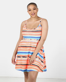 Sun Things Plus Size Jacqueline Strappy Swimdress Sunset Ombre