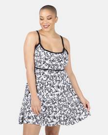Sun Things Plus Size Jacqueline Strappy Swimdress Black/White Floral
