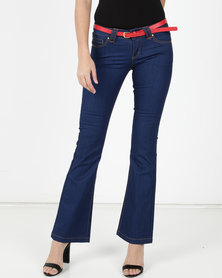 Utopia Flare Leg Denim With Belt Blue