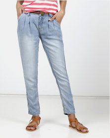 Utopia Light Wash Pleated Denim With Belt Blue