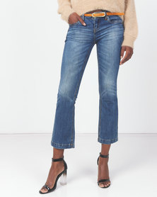 Utopia Mid Wash Flare Leg Denim With Belt Blue