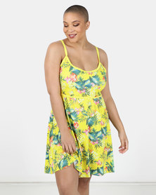 Sun Things Plus Size Jacqueline Strappy Swimdress Tropical Palm