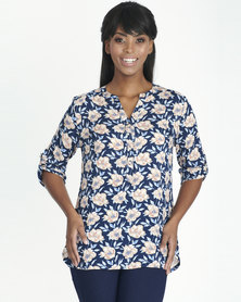 Contempo Navy Printed Henley Top