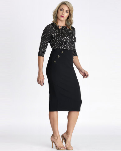 Contempo Black Skirt With Button Detail