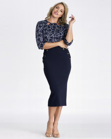 Contempo Navy Skirt With Button Detail