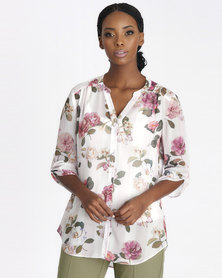 Contempo Ivory Floral Stripe Blouse With Cami