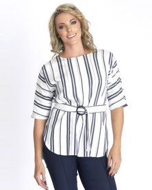 Contempo White Stripe Cotton Tunic