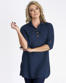 Contempo Navy Linen Top With Tortoise Shell