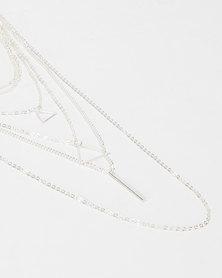 Utopia Triangle Layered Necklace Silver