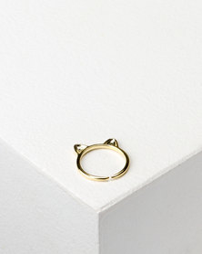 Utopia Cat Ears Ring Gold-tone