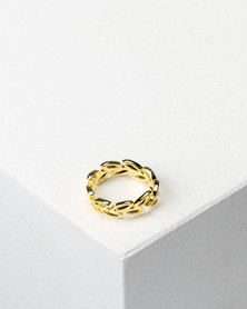 Utopia Leaf Detail Ring Gold-tone
