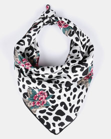 Utopia Spotted Flower Print Scarf White/Black