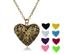 Urban Charm Vintage Heart Locket Essential Oil Diffuser Necklace - Bronze