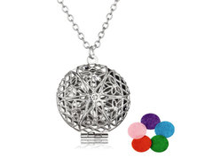 Urban Charm Vintage Mandala Locket Essential Oil Diffuser Necklace - Silver