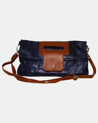 Casa Di Cincanra Luciana Leather Handbag Navy