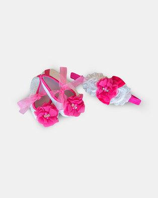 Pinkstardust Headband & Shoe Set White and Pink