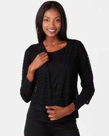 Queenspark Knit Lace Bolero Jacket Black