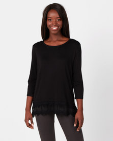 Queenspark Classy Lace Trim Core Knit Top Black