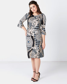 Queenspark Chain Print Bell Sleeve Knit Dress Grey