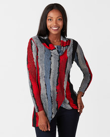 Queenspark Stripe Cowlneck Knit Top Multi