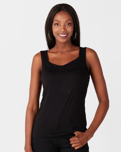 Queenspark Casual Core Knit Cami Black