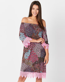 Queenspark Peacock Print Lace Knitted Tunic Dress Pink