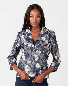 Queenspark Floral Denim Friendly Woven Jacket Blue