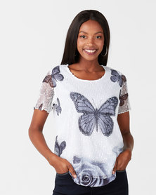 Queenspark Butterfly Mesh Short Sleeve Knit Top White