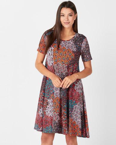 Queenspark Short Sleeve Peacock Popover Knit Dress Multicoloured