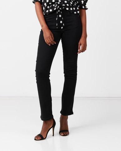 Queenspark Bootleg Denim Woven Jeans Black