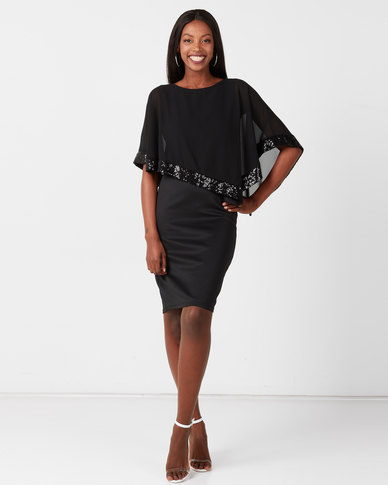 Queenspark Double Layer Glam Knit Dress Black