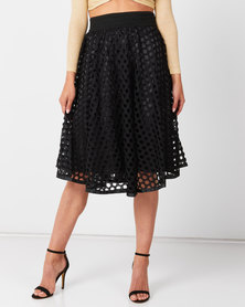 Queenspark Ra Ra Cut-Out Glam Knit Skirt Black