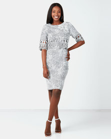 Queenspark Cut-Out Double Layer Woven Dress Silver