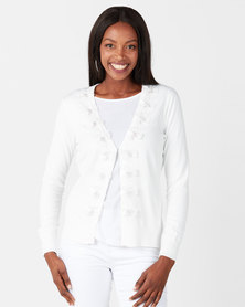 Queenspark Flower Trim Knitwear Cardigan White