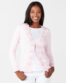 Queenspark Flower Trim Knitwear Cardigan Pink