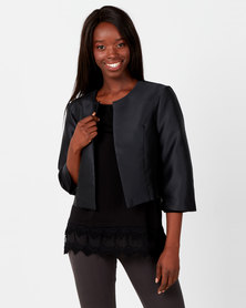 Queenspark Plain Taffeta Woven Jacket Black