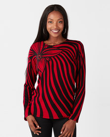 Queenspark Large Flower Printed Knitwear Top Red