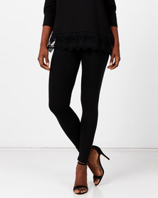 Queenspark Private Label Knitted Long Leggings Black