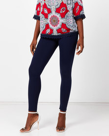 Queenspark Private Label Knitted Long Leggings Navy