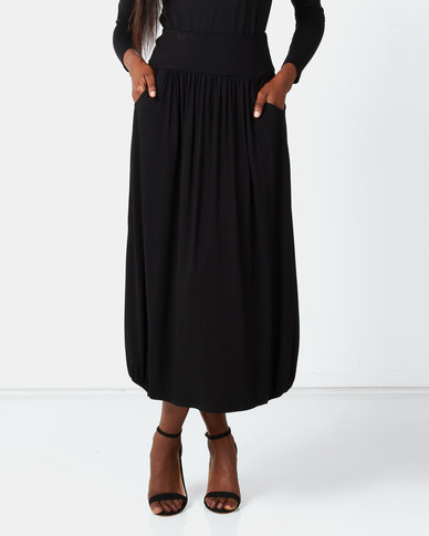 Queenspark Private Label Pocket Detail Knitted Long Skirt Black