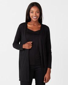 Queenspark Private Label Long Sleeve Knit Cover Up Black