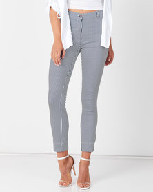 Queenspark Stripe Trousers Navy
