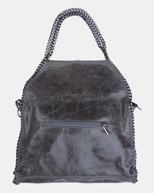 Casa Di Cincanra Carla Chain Shoulder Leather Handbag Gunmetal