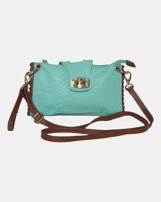 Casa Di Cincanra Fiorella Leather Clutch Aqua