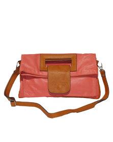 Casa Di Cincanra Germana Leather Handbag Coral Peach