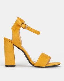 Legit High Block Heel with High quarter ankle Strap Mustard