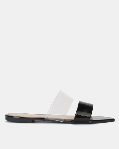 Legit Pointed Sandal with Vinyl Vamp Black
