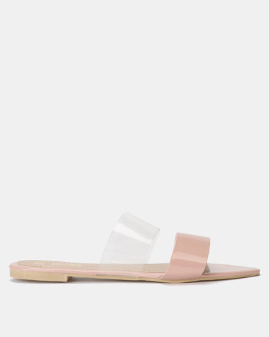 Legit Pointed Sandal with Vinyl Vamp Blush