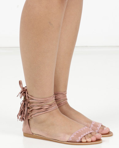 Legit Lace-up Mule with Embroidered Detail on Heel Counter Blush