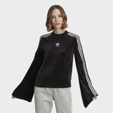 FLARED SLEEVE VELOUR SWEATSHIRT